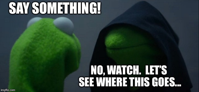 Evil Kermit Meme | SAY SOMETHING! NO, WATCH.  LET'S SEE WHERE THIS GOES... | image tagged in memes,evil kermit | made w/ Imgflip meme maker