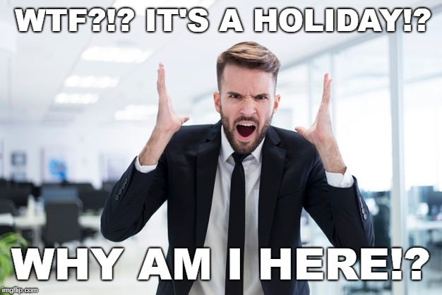 It's a holiday? | WTF?!? IT'S A HOLIDAY!? WHY AM I HERE!? | image tagged in holiday,day off,went to work on a holiday,long weekend | made w/ Imgflip meme maker
