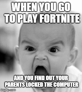 Angry Baby | WHEN YOU GO TO PLAY FORTNITE AND YOU FIND OUT YOUR PARENTS LOCKED THE COMPUTER | image tagged in memes,angry baby | made w/ Imgflip meme maker