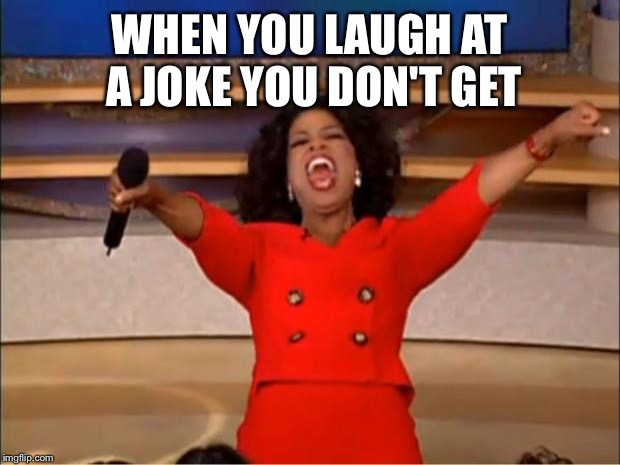 Oprah You Get A |  WHEN YOU LAUGH AT A JOKE YOU DON'T GET | image tagged in memes,oprah you get a | made w/ Imgflip meme maker