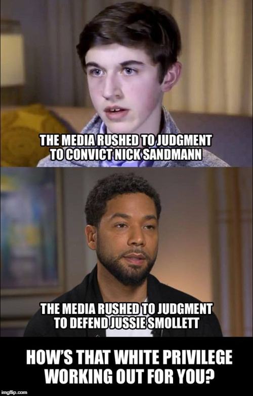 PLUS: there r people defending JS even with evidence that he lied and people attacking NS even with evidence that he's innocent | image tagged in politics,jussie smollett,right wing | made w/ Imgflip meme maker