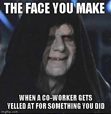 Sidious Error | THE FACE YOU MAKE WHEN A CO-WORKER GETS YELLED AT FOR SOMETHING YOU DID | image tagged in memes,sidious error | made w/ Imgflip meme maker