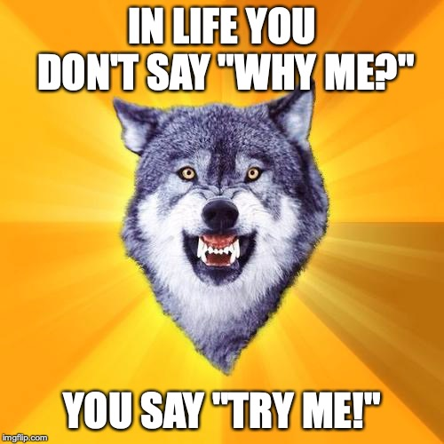 "Courage Wolf | IN LIFE YOU DON'T SAY ""WHY ME?"" YOU SAY ""TRY ME!"" 