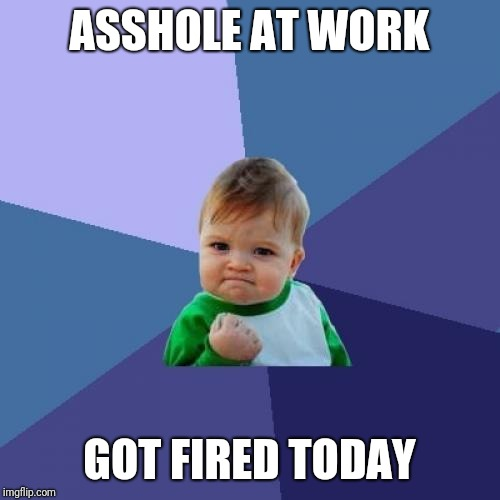 Didn't hurt my feelings none... | ASSHOLE AT WORK GOT FIRED TODAY | image tagged in memes,success kid,asshole,work,you're fired | made w/ Imgflip meme maker