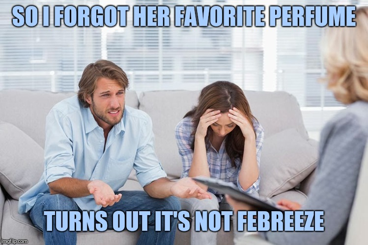 couples therapy | SO I FORGOT HER FAVORITE PERFUME TURNS OUT IT'S NOT FEBREEZE | image tagged in couples therapy | made w/ Imgflip meme maker
