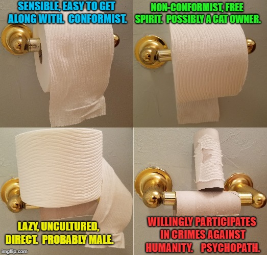 What your TP says about you... | SENSIBLE, EASY TO GET ALONG WITH.  CONFORMIST. NON-CONFORMIST, FREE SPIRIT.  POSSIBLY A CAT OWNER. LAZY, UNCULTURED, DIRECT.  PROBABLY MALE. | image tagged in funny memes,personality,toilet paper,no more toilet paper,people | made w/ Imgflip meme maker