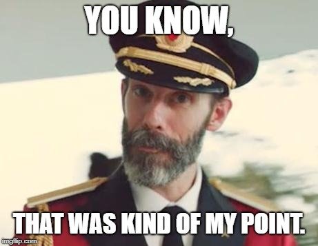 Captain Obvious | YOU KNOW, THAT WAS KIND OF MY POINT. | image tagged in captain obvious | made w/ Imgflip meme maker