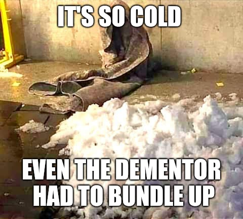 Even Dementors need a little warmth...  | IT'S SO COLD EVEN THE DEMENTOR HAD TO BUNDLE UP | image tagged in memes,harry potter,snow,freezing cold,wth | made w/ Imgflip meme maker