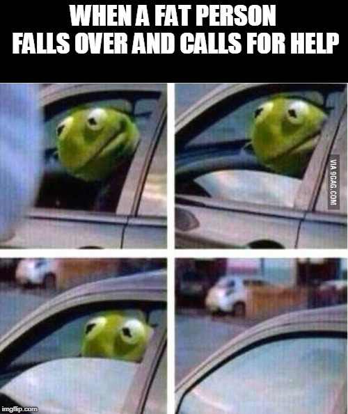 Consider it a wake up call | WHEN A FAT PERSON FALLS OVER AND CALLS FOR HELP | image tagged in kermit driving | made w/ Imgflip meme maker