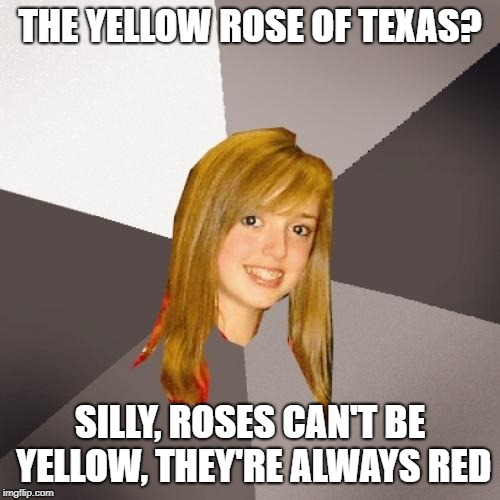 Damn Yankees | THE YELLOW ROSE OF TEXAS? SILLY, ROSES CAN'T BE YELLOW, THEY'RE ALWAYS RED | image tagged in musically oblivious 8th grader,memes | made w/ Imgflip meme maker