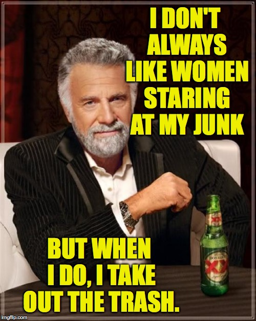 I've gotten pretty good at making friends ( : |  I DON'T ALWAYS LIKE WOMEN STARING AT MY JUNK; BUT WHEN I DO, I TAKE OUT THE TRASH. | image tagged in memes,the most interesting man in the world,junk,trash | made w/ Imgflip meme maker