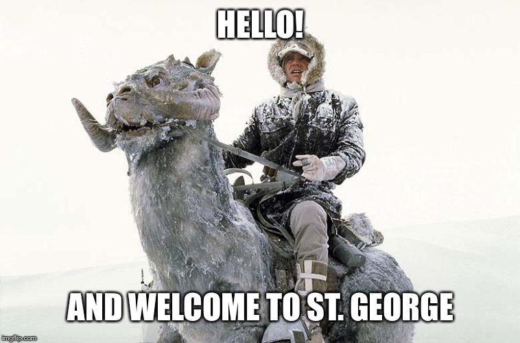 Han Solo hoth snow | HELLO! AND WELCOME TO ST. GEORGE | image tagged in han solo hoth snow | made w/ Imgflip meme maker