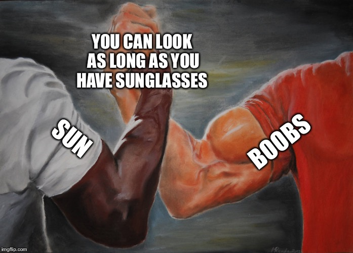 Epic Handshake Meme |  YOU CAN LOOK AS LONG AS YOU HAVE SUNGLASSES; BOOBS; SUN | image tagged in epic handshake | made w/ Imgflip meme maker