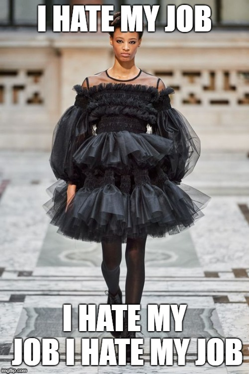 I HATE MY JOB; I HATE MY JOB I HATE MY JOB | image tagged in runway fashion | made w/ Imgflip meme maker