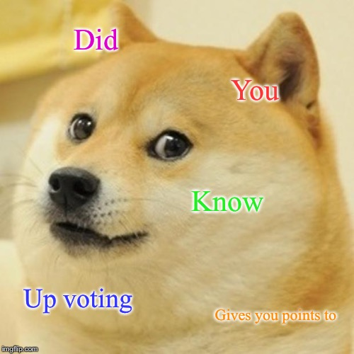 Doge |  Did; You; Know; Up voting; Gives you points to | image tagged in memes,doge | made w/ Imgflip meme maker