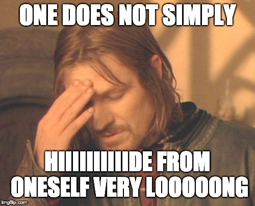 Frustrated Boromir | ONE DOES NOT SIMPLY HIIIIIIIIIIDE FROM ONESELF VERY LOOOOONG | image tagged in memes,frustrated boromir | made w/ Imgflip meme maker