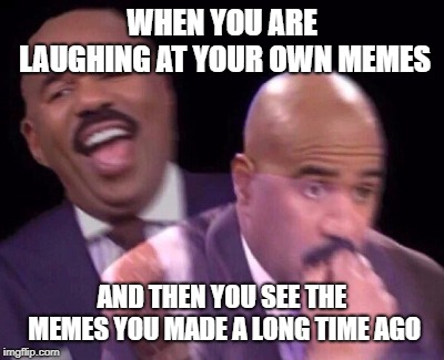 Did I ever think that that was funny? | WHEN YOU ARE LAUGHING AT YOUR OWN MEMES AND THEN YOU SEE THE MEMES YOU MADE A LONG TIME AGO | image tagged in steve harvey laughing serious,memes,funny,laugh,bad meme | made w/ Imgflip meme maker