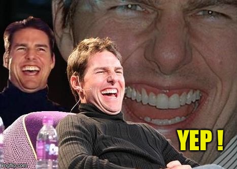 Tom Cruise laugh | YEP ! | image tagged in tom cruise laugh | made w/ Imgflip meme maker