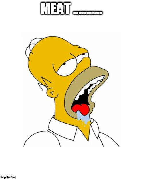 MEAT ........... | image tagged in homer simpson drooling | made w/ Imgflip meme maker