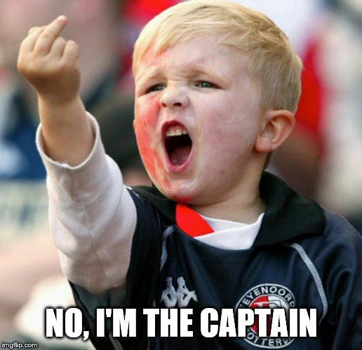 Little boy flipping the bird | NO, I'M THE CAPTAIN | image tagged in little boy flipping the bird | made w/ Imgflip meme maker
