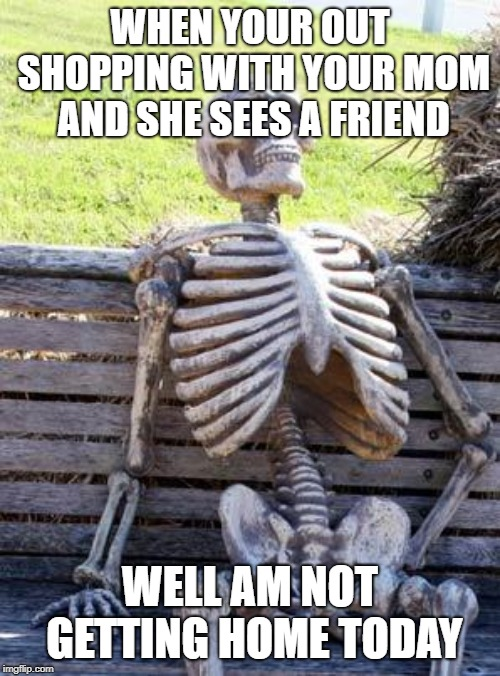 struggles of shopping with your mom | WHEN YOUR OUT SHOPPING WITH YOUR MOM AND SHE SEES A FRIEND WELL AM NOT GETTING HOME TODAY | image tagged in memes,waiting skeleton | made w/ Imgflip meme maker