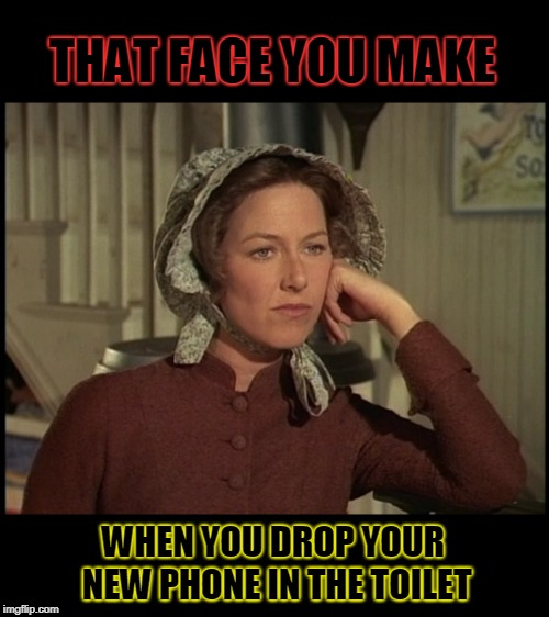 Such is life I guess. ¯_(ツ)_/¯ | THAT FACE YOU MAKE WHEN YOU DROP YOUR NEW PHONE IN THE TOILET | image tagged in little house on the prairie mrs ingalls concerned,nixieknox,memes,not again | made w/ Imgflip meme maker