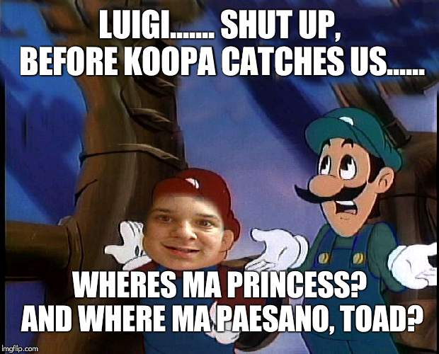 top is mario/me, Bottom is Luigi | LUIGI....... SHUT UP, BEFORE KOOPA CATCHES US...... WHERES MA PRINCESS? AND WHERE MA PAESANO, TOAD? | image tagged in flamingknuckles66,mario and luigi,paesano,toadstool,princess peach | made w/ Imgflip meme maker