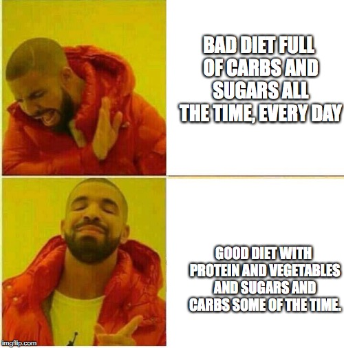 BAD DIET FULL OF CARBS AND SUGARS ALL THE TIME, EVERY DAY; GOOD DIET WITH PROTEIN AND VEGETABLES AND SUGARS AND CARBS SOME OF THE TIME. | image tagged in diet | made w/ Imgflip meme maker