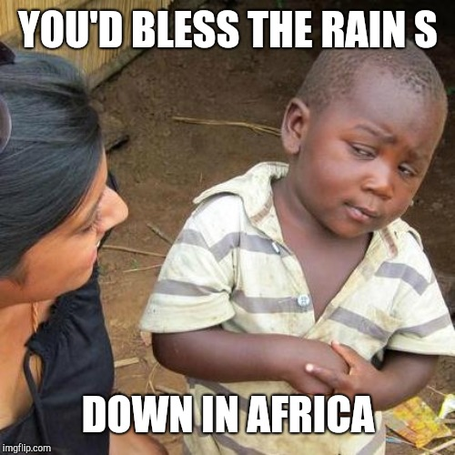Third World Skeptical Kid Meme | YOU'D BLESS THE RAIN S DOWN IN AFRICA | image tagged in memes,third world skeptical kid | made w/ Imgflip meme maker