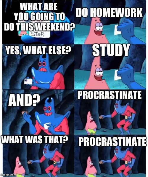 Study time!(?) | WHAT ARE YOU GOING TO DO THIS WEEKEND? STUDY DO HOMEWORK AND? YES, WHAT ELSE? PROCRASTINATE WHAT WAS THAT? PROCRASTINATE | image tagged in patrick not my wallet,funny,studying,student,school,monday | made w/ Imgflip meme maker