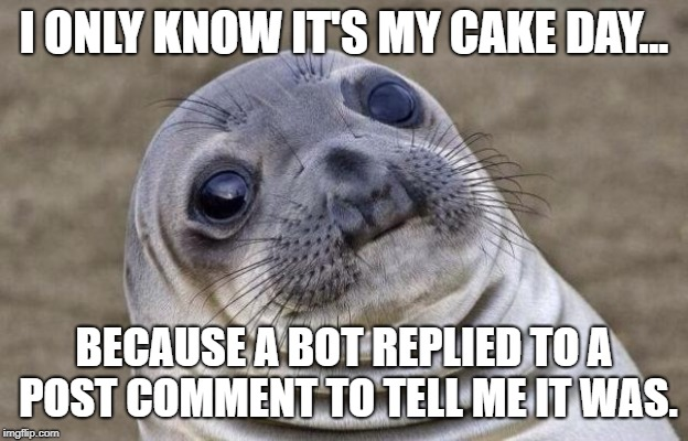 Awkward Seal | I ONLY KNOW IT'S MY CAKE DAY... BECAUSE A BOT REPLIED TO A POST COMMENT TO TELL ME IT WAS. | image tagged in awkward seal,AdviceAnimals | made w/ Imgflip meme maker
