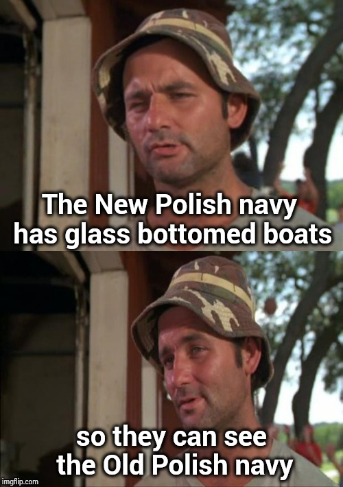 Polish jokes are OK I guess | The New Polish navy has glass bottomed boats so they can see the Old Polish navy | image tagged in bill murray bad joke,politically correct,polish,jokes,irish,drunk | made w/ Imgflip meme maker