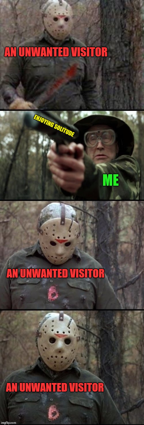 X Vs Y | AN UNWANTED VISITOR ENJOYING SOLITUDE ME AN UNWANTED VISITOR AN UNWANTED VISITOR | image tagged in x vs y | made w/ Imgflip meme maker