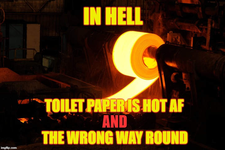 Hell's Toilet | IN HELL TOILET PAPER IS HOT AF AND THE WRONG WAY ROUND | image tagged in toilet paper,toilet humor | made w/ Imgflip meme maker