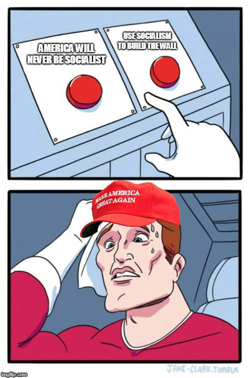 Two Button Maga Hat |  USE SOCIALISM TO BUILD THE WALL; AMERICA WILL NEVER BE SOCIALIST | image tagged in two button maga hat | made w/ Imgflip meme maker
