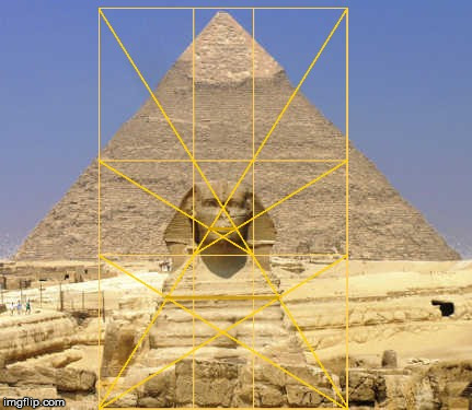 The pyramid of Khafre, The Great Sphinx and the Golden Ratio. | image tagged in the giza necropolis,the great sphinx,the golden ratio,geometry,architecture,egypt | made w/ Imgflip meme maker