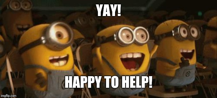 Cheering Minions | YAY! HAPPY TO HELP! | image tagged in cheering minions | made w/ Imgflip meme maker