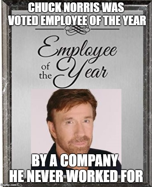 Chuck Norris Employee Of The Year | CHUCK NORRIS WAS VOTED EMPLOYEE OF THE YEAR BY A COMPANY HE NEVER WORKED FOR | image tagged in chuck norris,memes,employees | made w/ Imgflip meme maker