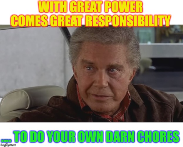 With Great Power | WITH GREAT POWER COMES GREAT RESPONSIBILITY .... TO DO YOUR OWN DARN CHORES | image tagged in with great power | made w/ Imgflip meme maker