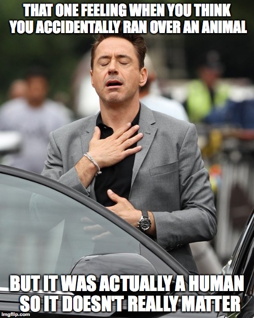 *Phew* | THAT ONE FEELING WHEN YOU THINK YOU ACCIDENTALLY RAN OVER AN ANIMAL BUT IT WAS ACTUALLY A HUMAN  SO IT DOESN'T REALLY MATTER | image tagged in relief,funny,robert downey jr,car accident,memes,cars | made w/ Imgflip meme maker
