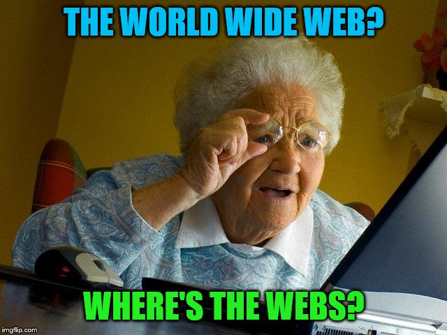 Grandma Finds The Internet | THE WORLD WIDE WEB? WHERE'S THE WEBS? | image tagged in memes,grandma finds the internet | made w/ Imgflip meme maker