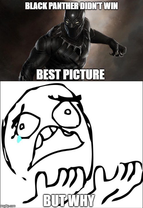 BLACK PANTHER DIDN'T WIN; BEST PICTURE; BUT WHY | image tagged in but why,black panther | made w/ Imgflip meme maker