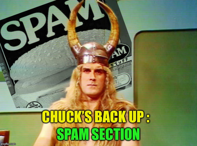 CHUCK'S BACK UP : SPAM SECTION | made w/ Imgflip meme maker