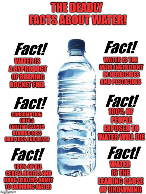 Water is deadly | THE DEADLY FACTS ABOUT WATER! WATER IS THE LEADING CAUSE OF DROWNING WATER IS A BYPRODUCT OF BURNING ROCKET FUEL WATER IS THE MAIN INGREDIEN | image tagged in water,facts,funny | made w/ Imgflip meme maker
