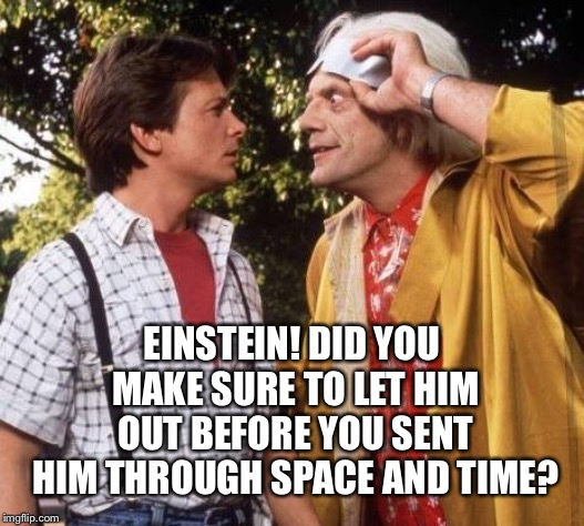 Doc Brown Marty Mcfly | EINSTEIN! DID YOU MAKE SURE TO LET HIM OUT BEFORE YOU SENT HIM THROUGH SPACE AND TIME? | image tagged in doc brown marty mcfly | made w/ Imgflip meme maker