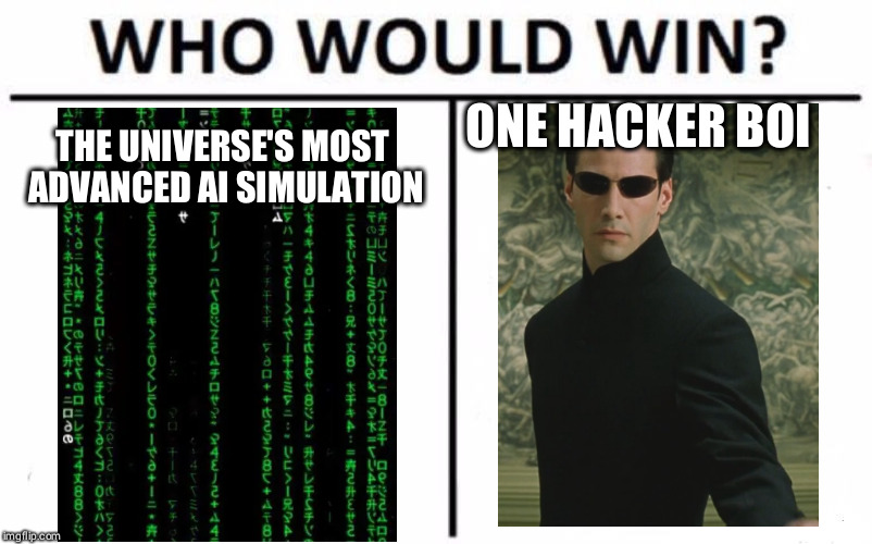 Hacker! | THE UNIVERSE'S MOST ADVANCED AI SIMULATION ONE HACKER BOI | image tagged in memes,who would win,neo,matrix,welcome to the matrix | made w/ Imgflip meme maker