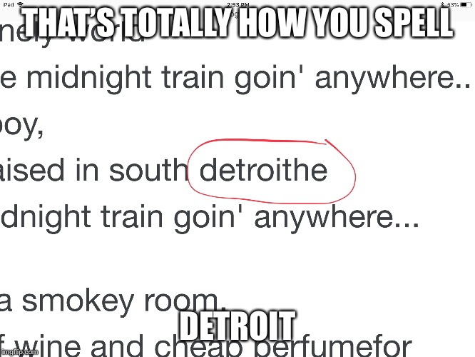 THAT'S TOTALLY HOW YOU SPELL DETROIT | image tagged in lol | made w/ Imgflip meme maker