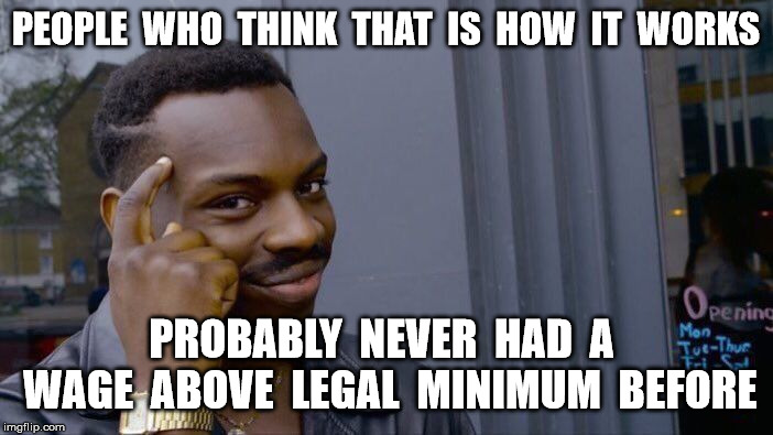 Roll Safe Think About It Meme | PEOPLE  WHO  THINK  THAT  IS  HOW  IT  WORKS PROBABLY  NEVER  HAD  A  WAGE  ABOVE  LEGAL  MINIMUM  BEFORE | image tagged in memes,roll safe think about it | made w/ Imgflip meme maker