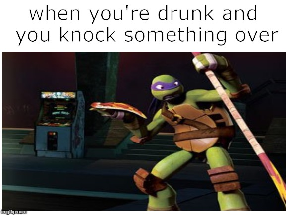 Or when you're just super sleepy and you want a snack and you drop a spoon |  when you're drunk and you knock something over | image tagged in when,memes,funny,tmnt,teenage mutant ninja turtles,drunk | made w/ Imgflip meme maker