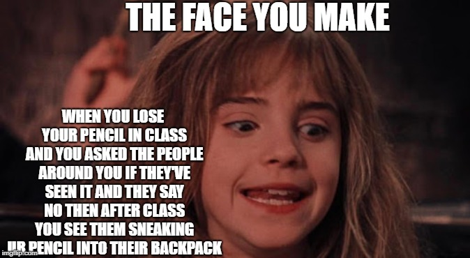 the annoyed hermione look | THE FACE YOU MAKE WHEN YOU LOSE YOUR PENCIL IN CLASS AND YOU ASKED THE PEOPLE AROUND YOU IF THEY'VE SEEN IT AND THEY SAY NO THEN AFTER CLASS | image tagged in hermione granger,the face you make | made w/ Imgflip meme maker